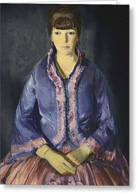 Emma In The Purple Dress Greeting Card by George Bellows
