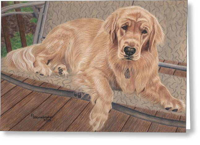 Golden Drawings Greeting Cards - Emma on the Glider Greeting Card by Debbie Stonebraker