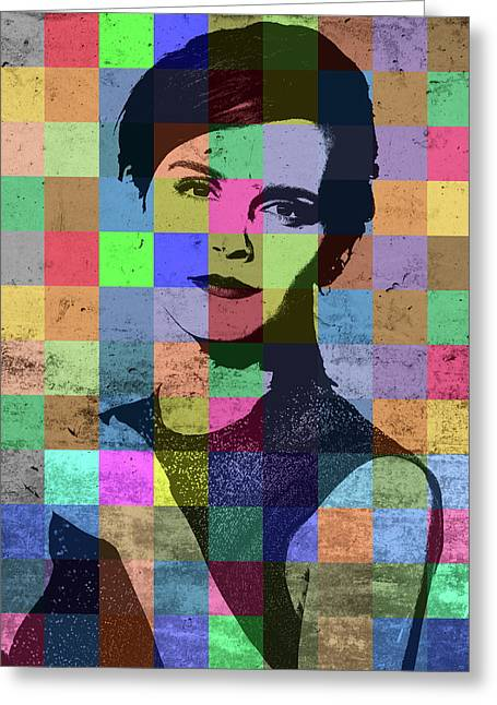 Emma Watson Pop Art Patchwork Colorful Portrait Greeting Card by Design Turnpike