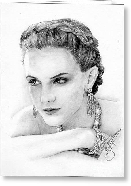 Charcoal Portrait Greeting Cards - Emma Watson Greeting Card by Rosalinda Markle