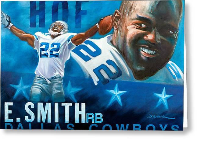 Emmit Smith HOF Greeting Card by Jim Wetherington