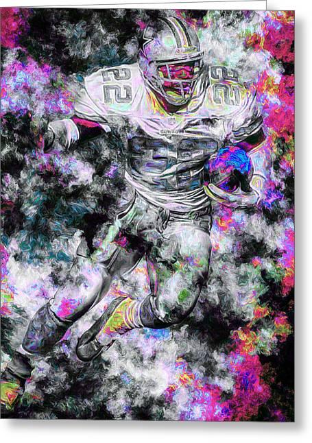 Emmitt Smith Dallas Cowboys Painting Digital 13 Greeting Card by David Haskett