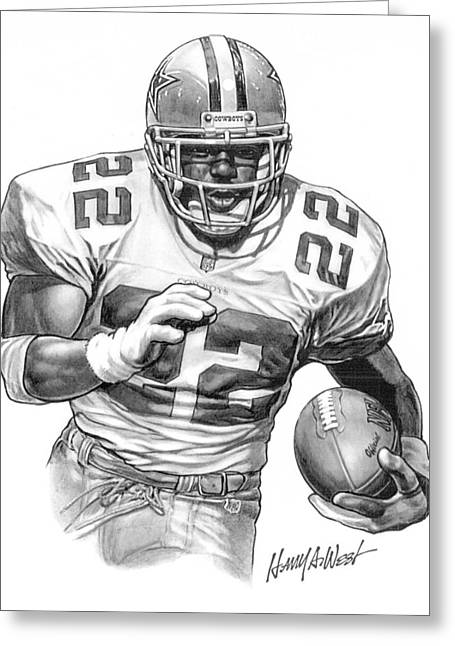 Pro Football Drawings Greeting Cards - Emmitt Smith Greeting Card by Harry West