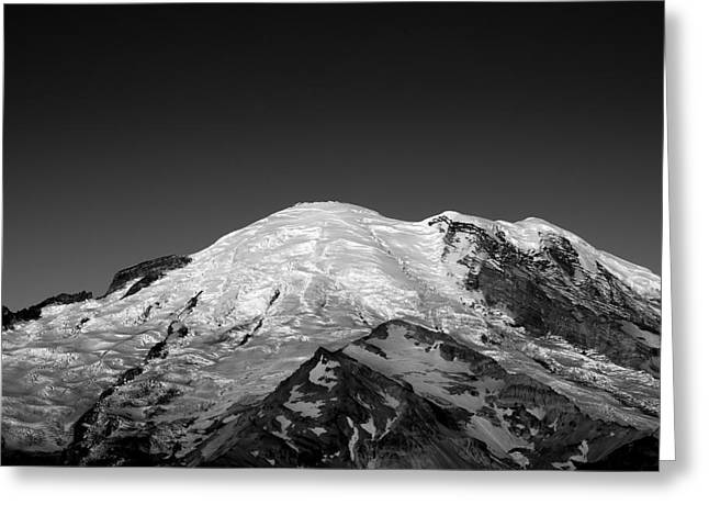 Snow White Greeting Cards - Emmons and Winthrope Glaciers on Mount Rainier Greeting Card by Brendan Reals