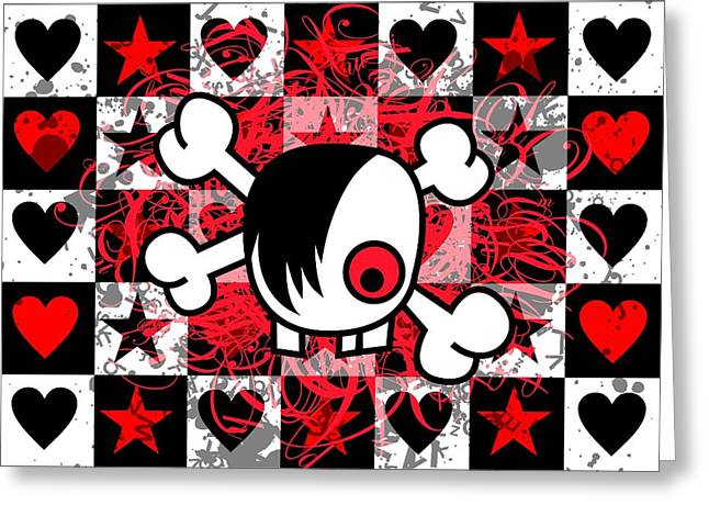 Crossbones Greeting Cards - Emo Boy Skull Greeting Card by Roseanne Jones