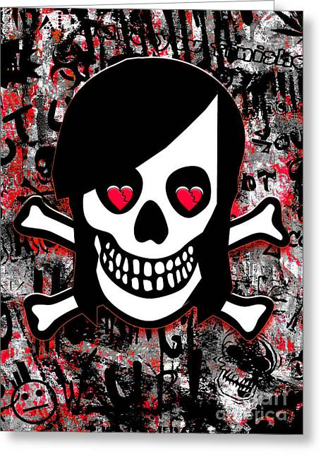 Emo Greeting Cards - Emo Heart Breaker Greeting Card by Roseanne Jones