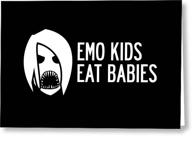 Emo Greeting Cards - Emo Kids Eat Babies Greeting Card by Mike Lopez