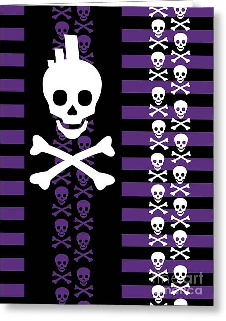 Roseanne Jones Greeting Cards - Emo Punk Skull Greeting Card by Roseanne Jones