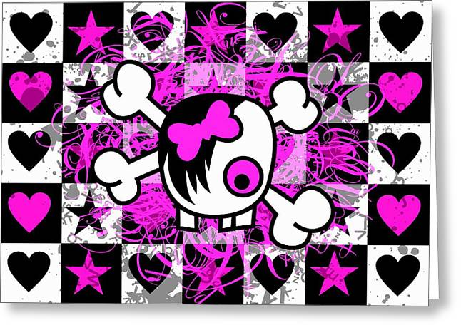 Emo Greeting Cards - Emo Scene Girl Skull Greeting Card by Roseanne Jones