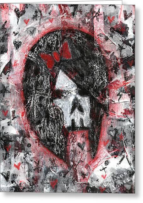 Emo Scene Skull Girl Greeting Card by Roseanne Jones