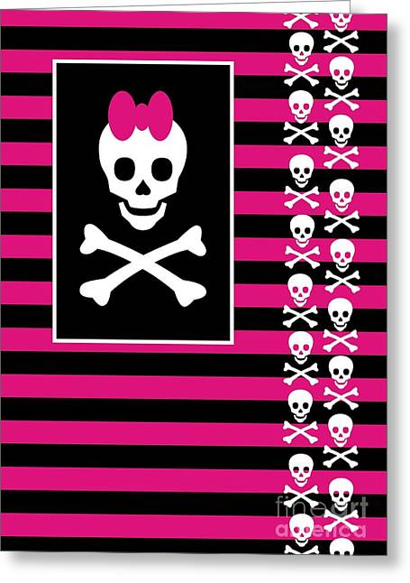 Emo Greeting Cards - Emo Skull Princess Greeting Card by Roseanne Jones