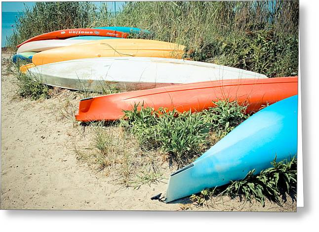 Water Vessels Greeting Cards - Emotion - Kayaks Greeting Card by Colleen Kammerer