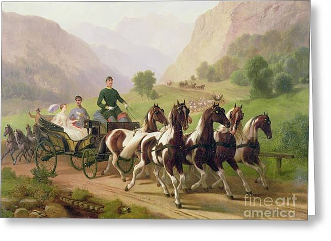 Wife Greeting Cards - Emperor Franz Joseph I of Austria being driven in his carriage with his wife Elizabeth of Bavaria I Greeting Card by Austrian School