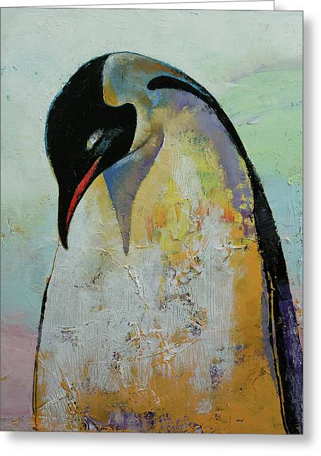Emperor Penguin Greeting Card by Michael Creese