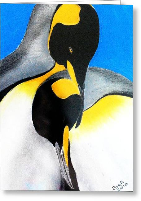 Penguins Pastels Greeting Cards - Emperor Penguin Greeting Card by Rosalind Duffy