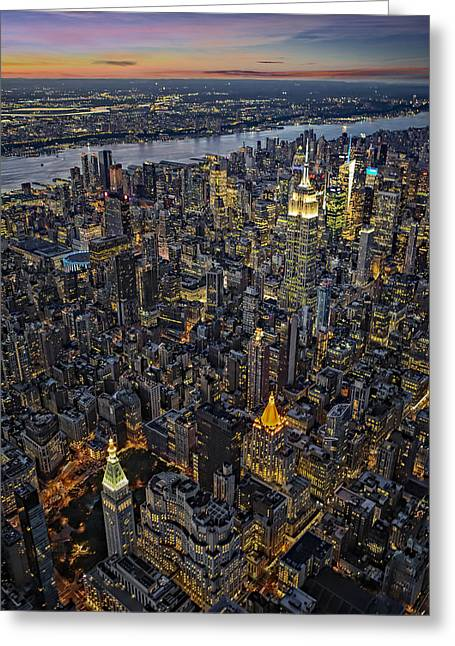 Cityscapes Greeting Cards - Empire State Aerial View Greeting Card by Susan Candelario