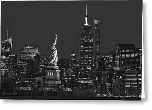 Empire State And Statue Of Liberty II Bw Greeting Card by Susan Candelario