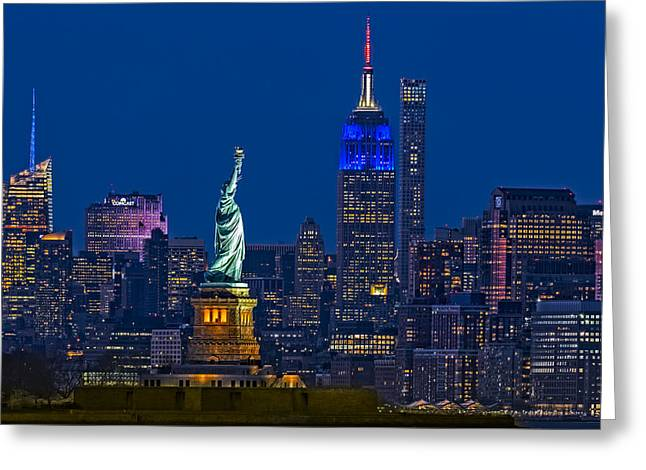 Empire State And Statue Of Liberty II Greeting Card by Susan Candelario