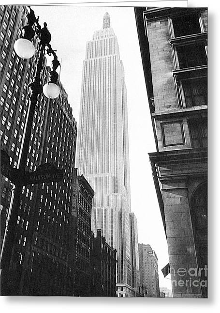 Streetlight Greeting Cards - Empire State Building, 1931 Greeting Card by Granger