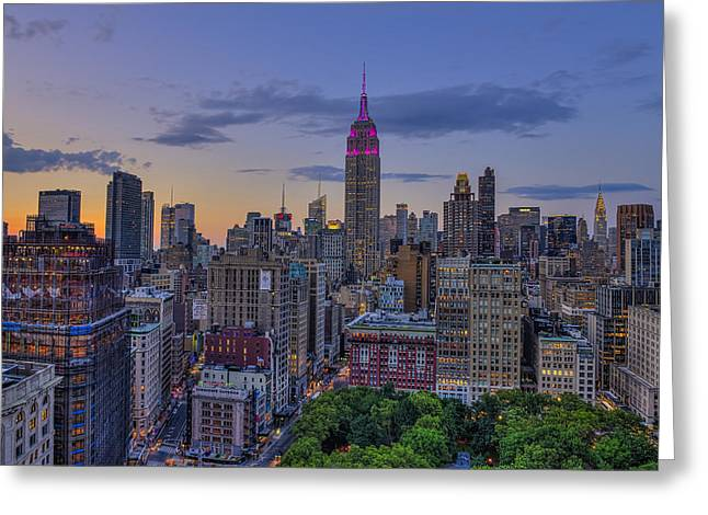 Unite The Hearts Greeting Cards - Empire State Building At Sunset Greeting Card by F. M. Kearney