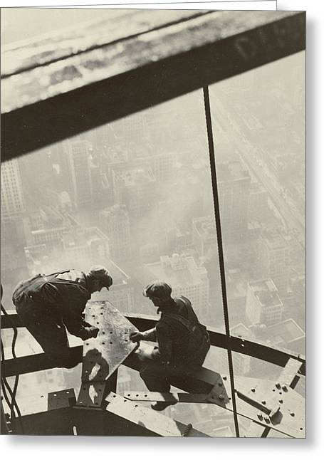 Urban Man Greeting Cards - Empire State Building Greeting Card by Lewis Wickes Hine