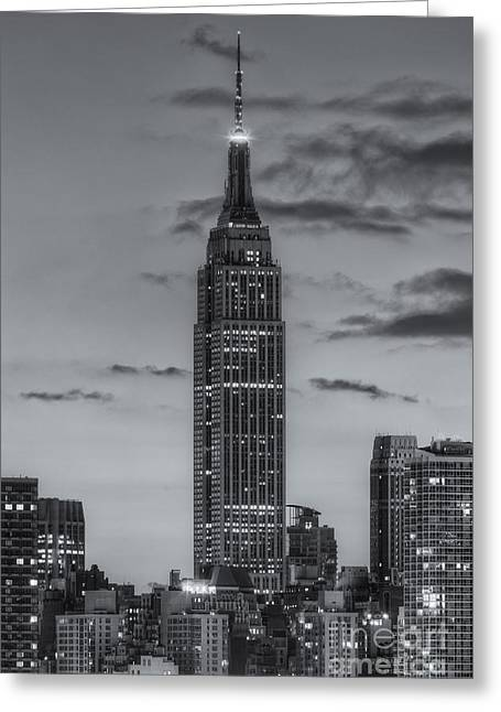 United States Greeting Cards - Empire State Building Morning Twilight IV Greeting Card by Clarence Holmes