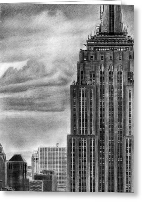 Midtown Drawings Greeting Cards - Empire State Building New York Pencil Drawing Greeting Card by David Rives