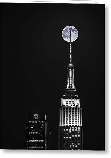 Black Top Greeting Cards - Empire State of Moon Greeting Card by Eduard Moldoveanu