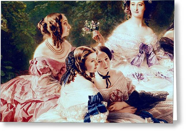 Ringlets Greeting Cards - Empress Eugenie and her Ladies in Waiting Greeting Card by Franz Xaver Winterhalter