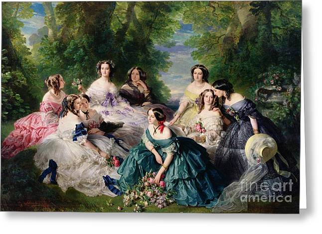 Chateau Greeting Cards - Empress Eugenie Surrounded by her Ladies in Waiting Greeting Card by Franz Xaver Winterhalter