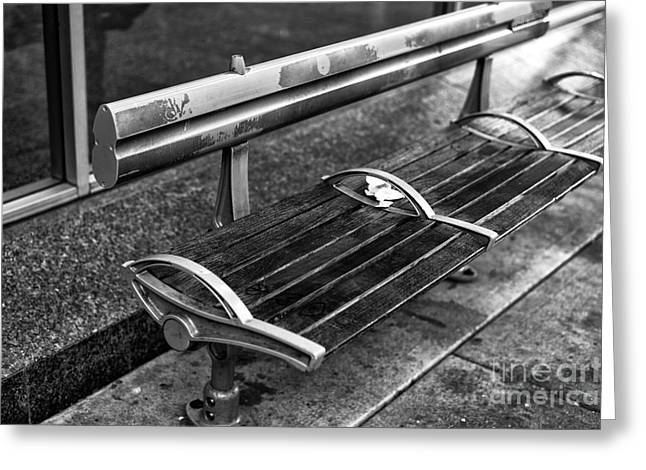 Empty Bench Greeting Cards - Empty Bench in Gastown mono Greeting Card by John Rizzuto