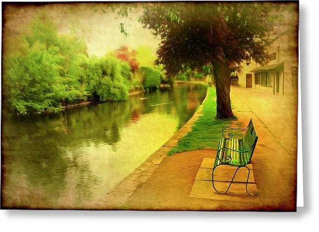 Old Town Digital Greeting Cards - Empty Bench Greeting Card by Svetlana Sewell