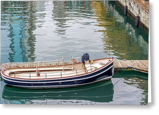 Ocean Sailing Greeting Cards - Empty Boat At Dock Greeting Card by Pete Hendley