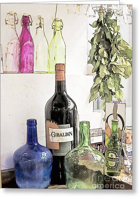 Empty Bottles And Laurel Bouquet Still Life Greeting Card by Heiko Koehrer-Wagner