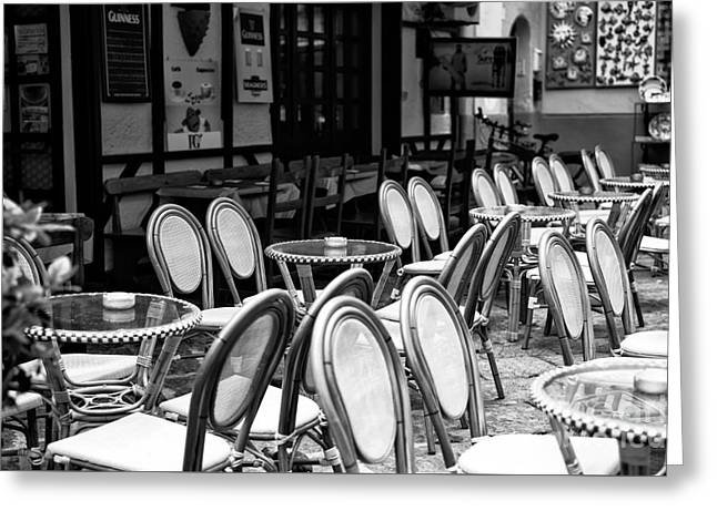 Table And Chairs Greeting Cards - Empty Cafe in Sorrento Greeting Card by John Rizzuto