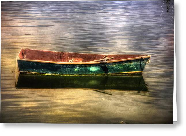 Boats In Water Greeting Cards - Empty Docked Rowboat Greeting Card by Joann Vitali
