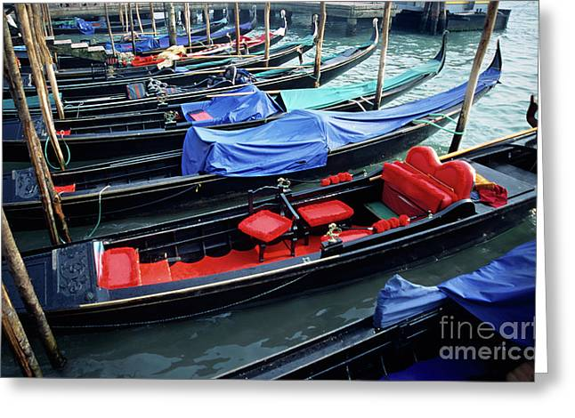 Boats On Water Greeting Cards - Empty gondolas floating on narrow canal Greeting Card by Sami Sarkis