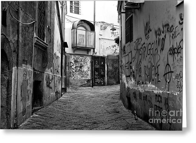 Old Street Greeting Cards - Empty in Naples Greeting Card by John Rizzuto