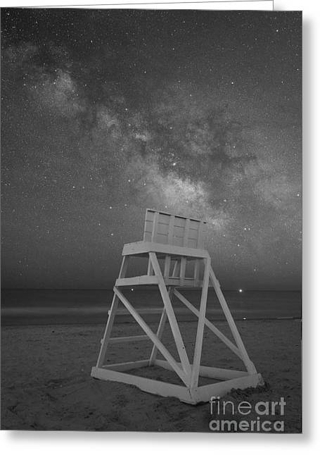 Beach At Night Greeting Cards - Empty Life Guard Stand At Night BW Greeting Card by Michael Ver Sprill