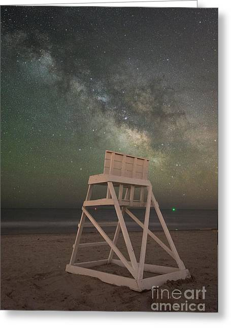 Beach At Night Greeting Cards - Empty Life Guard Stand At Night Greeting Card by Michael Ver Sprill