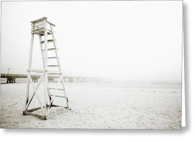 Foggy Beach Greeting Cards - Empty Life Guard Tower 1 Greeting Card by Skip Nall