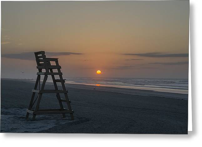 Empty Chairs Digital Greeting Cards - Empty Lifeguard Chair at Sunrise Greeting Card by Bill Cannon