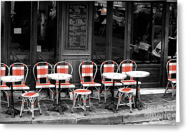 Empty Montmartre Cafe Fusion Greeting Card by John Rizzuto