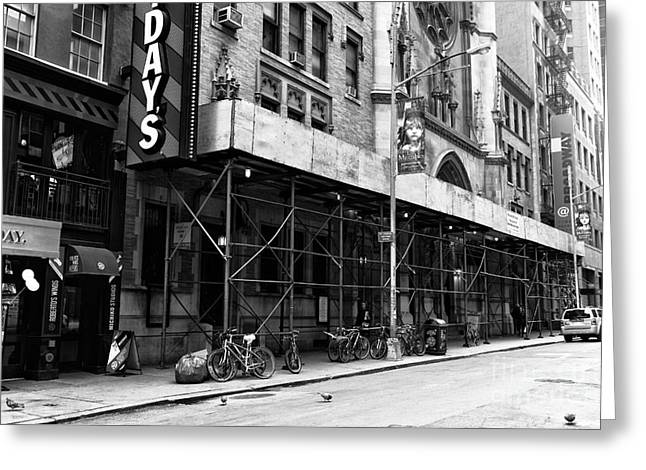 Empty Street Greeting Cards - Empty NYC mono Greeting Card by John Rizzuto