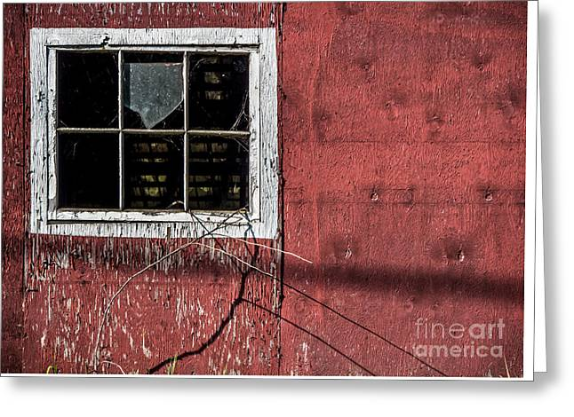 Barn Door Greeting Cards - Empty Panes in a Rustic Barn Greeting Card by James Aiken