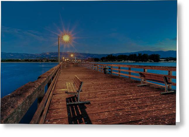Empty Pier Glow Greeting Card by Connie Cooper-Edwards