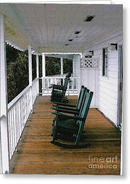 Rocking Chairs Digital Art Greeting Cards - Empty Retirement Greeting Card by Methune Hively