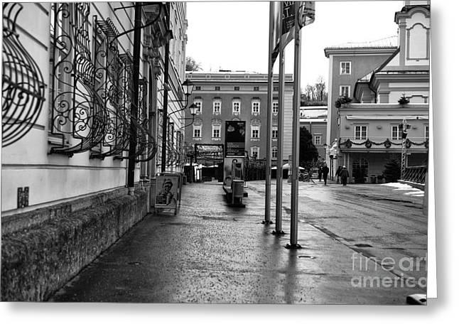 Art In Salzburg Greeting Cards - Empty Sidewalk in Salzburg mono Greeting Card by John Rizzuto
