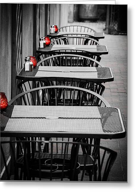 Long Street Greeting Cards - Empty Tables Greeting Card by Josh Spiegler