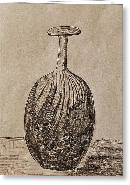 Glass Vase Drawings Greeting Cards - Empty Vase Greeting Card by Felicia Tica